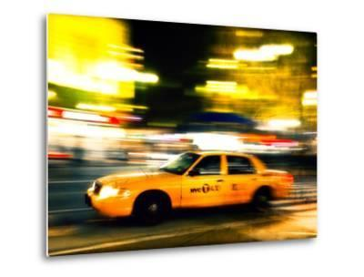 A NY Taxi Cab Rushes By-Jorge Fajl-Metal Print
