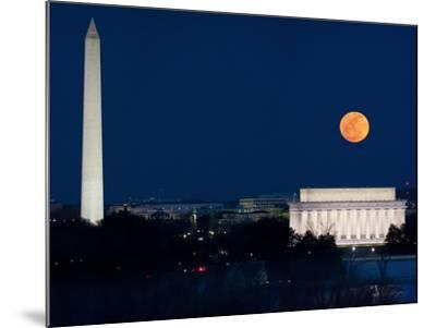 Panorama of the March 19, 2011 Super Moon at Perigee Full Moon-Greg Dale-Mounted Photographic Print