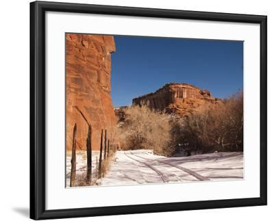 Tire Tracks in the Snow at the Canyon De Chelly Cliffs-James Forte-Framed Photographic Print