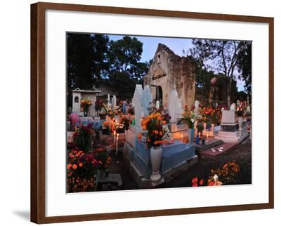 Xoxocotlan Graveyard on the Night of Day of the Dead-Raul Touzon-Framed Photographic Print