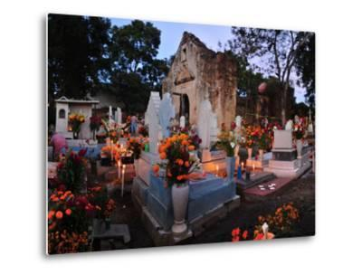 Xoxocotlan Graveyard on the Night of Day of the Dead-Raul Touzon-Metal Print