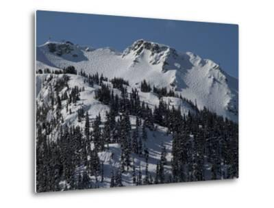 A View of Snow-Blanketed Whistler Peak Forested with Evergreen Trees-Tim Laman-Metal Print