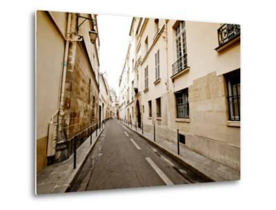 A Small Street Lined with Traditional Parisian Buildings-Jorge Fajl-Metal Print