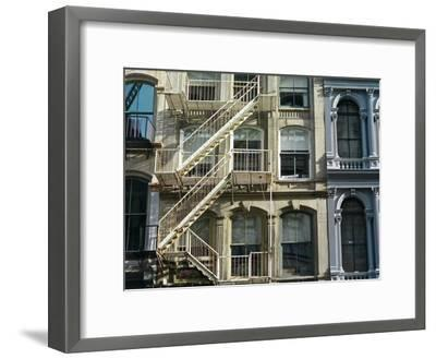 Fire Escapes on Buildings in Soho-Kike Calvo-Framed Premium Photographic Print