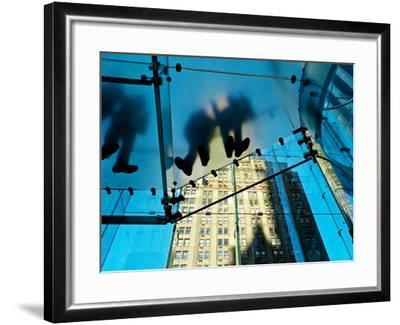 Inside the Apple Store, known as the Cube, on Fifth Avenue, New York-Kike Calvo-Framed Photographic Print