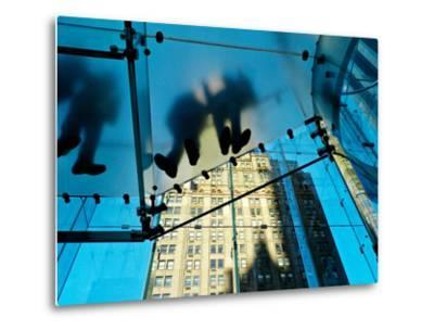 Inside the Apple Store, known as the Cube, on Fifth Avenue, New York-Kike Calvo-Metal Print