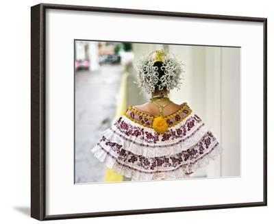 A Young Panamanian Woman Wearing the Traditional Pollera-Kike Calvo-Framed Premium Photographic Print