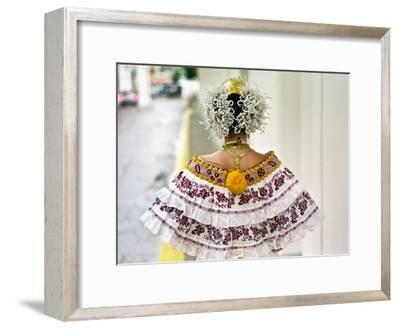 A Young Panamanian Woman Wearing the Traditional Pollera-Kike Calvo-Framed Photographic Print
