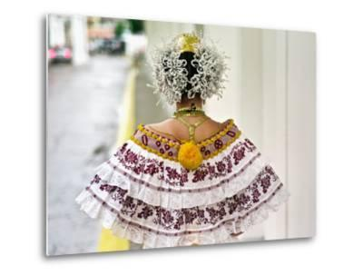 A Young Panamanian Woman Wearing the Traditional Pollera-Kike Calvo-Metal Print