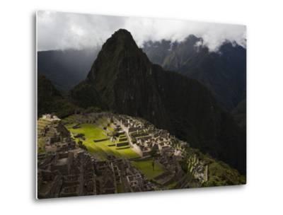 Sunlight Strikes Machu Picchu Through a Break in the Clouds-Michael Melford-Metal Print
