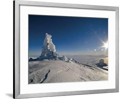 Biologists Explore a Partially Collapsed Ice Tower on Mount Erebus-Peter Carsten-Framed Photographic Print