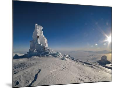 Biologists Explore a Partially Collapsed Ice Tower on Mount Erebus-Peter Carsten-Mounted Photographic Print