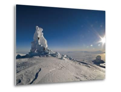 Biologists Explore a Partially Collapsed Ice Tower on Mount Erebus-Peter Carsten-Metal Print