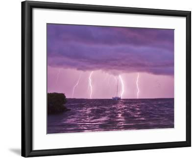 Lightning Bolts Striking the Ocean, and Almost Hitting a Sailboat-Mike Theiss-Framed Photographic Print