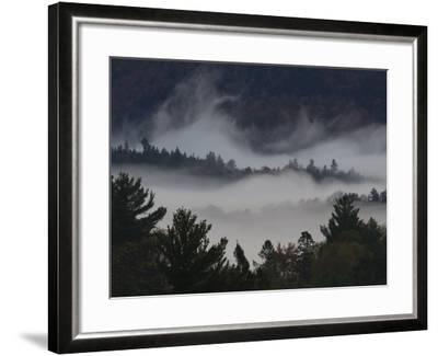 Morning Fog Blankets Adirondack Park-Michael Melford-Framed Photographic Print
