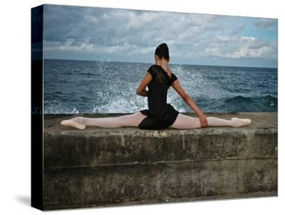 A Classic Ballerina from the Cuba National Ballet at the Malecon-Kike Calvo-Stretched Canvas Print