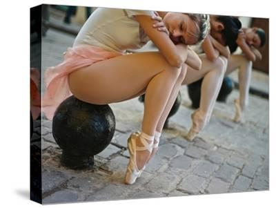 Classical Ballerinas from the Cuba National Ballet at the Malecon-Kike Calvo-Stretched Canvas Print