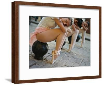 Classical Ballerinas from the Cuba National Ballet at the Malecon-Kike Calvo-Framed Premium Photographic Print