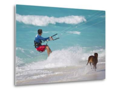A Kiteboarder and His Dog Enjoying Gusty Winds from Hurricane Tomas-Mike Theiss-Metal Print