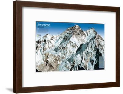 Mt. Everest Map-National Geographic Maps-Framed Art Print