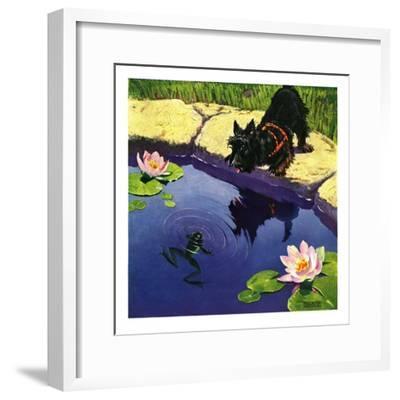 """Scottie and Frog,""August 1, 1935-Nelson Grofe-Framed Giclee Print"
