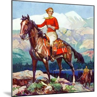 """Mountain Trail Ride,""April 1, 1936-Frank Schoonover-Mounted Giclee Print"