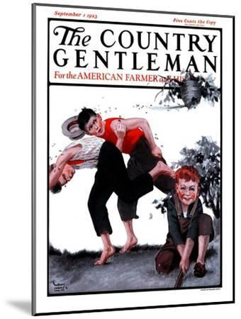 """""""Swarming Hornets,"""" Country Gentleman Cover, September 1, 1923-WM. Hoople-Mounted Giclee Print"""