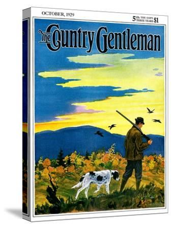 """""""Duck Hunter and Dog,"""" Country Gentleman Cover, October 1, 1929-Paul Bransom-Stretched Canvas Print"""