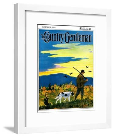 """""""Duck Hunter and Dog,"""" Country Gentleman Cover, October 1, 1929-Paul Bransom-Framed Giclee Print"""