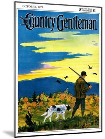 """""""Duck Hunter and Dog,"""" Country Gentleman Cover, October 1, 1929-Paul Bransom-Mounted Giclee Print"""