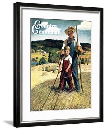 """""""Father and Son on Hay Wagon,"""" Country Gentleman Cover, June 1, 1944-Newell Convers Wyeth-Framed Giclee Print"""