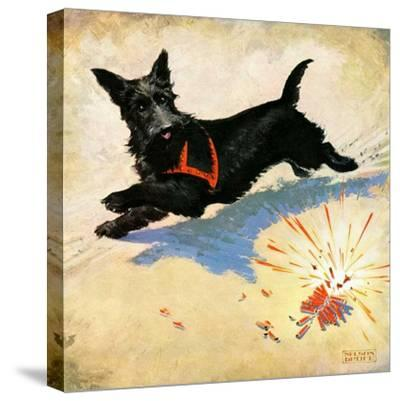 """""""Dog and Firecrackers,""""July 1, 1936-Nelson Grofe-Stretched Canvas Print"""