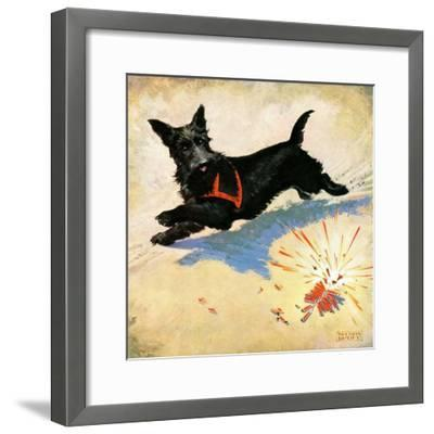 """""""Dog and Firecrackers,""""July 1, 1936-Nelson Grofe-Framed Giclee Print"""