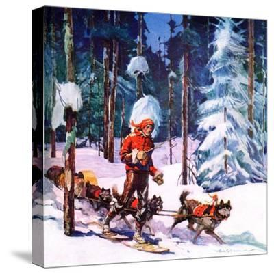 """""""Dog Sled,""""February 1, 1937-Frank Schoonover-Stretched Canvas Print"""