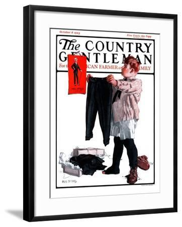 """First Pair of Long Pants,"" Country Gentleman Cover, October 6, 1923-Angus MacDonall-Framed Giclee Print"