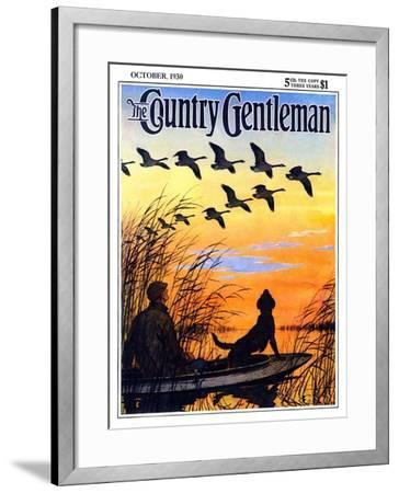 """Geese in Formation over Marsh,"" Country Gentleman Cover, October 1, 1930-Paul Bransom-Framed Giclee Print"