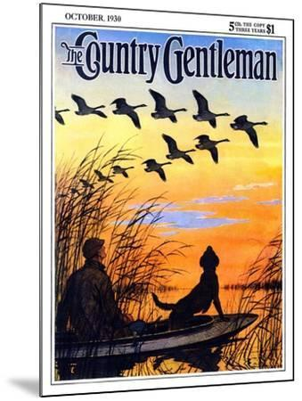 """Geese in Formation over Marsh,"" Country Gentleman Cover, October 1, 1930-Paul Bransom-Mounted Giclee Print"