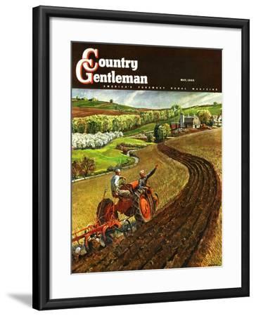"""""""Spring Plowing,"""" Country Gentleman Cover, May 1, 1945-Peter Helck-Framed Giclee Print"""
