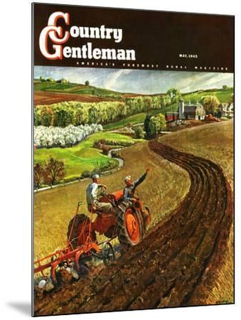 """""""Spring Plowing,"""" Country Gentleman Cover, May 1, 1945-Peter Helck-Mounted Giclee Print"""