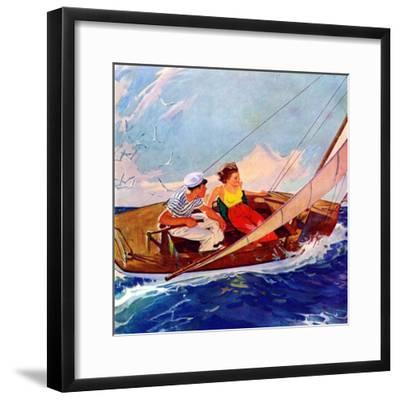 """Couple Sailing,""July 1, 1937-R^J^ Cavaliere-Framed Giclee Print"