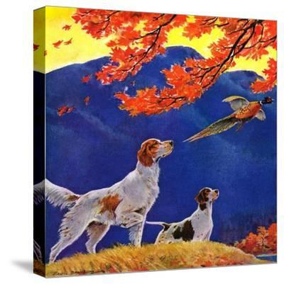 """Pointing to the Pheasant,""November 1, 1937-Paul Bransom-Stretched Canvas Print"