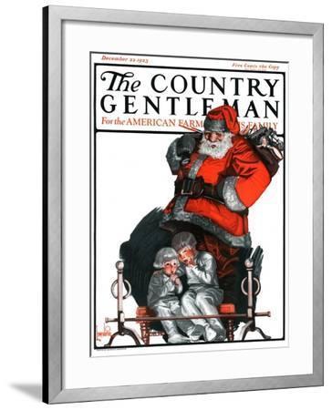 """Santa Overhears,"" Country Gentleman Cover, December 22, 1923-F. Lowenheim-Framed Giclee Print"
