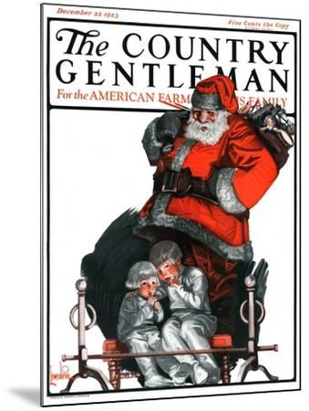 """Santa Overhears,"" Country Gentleman Cover, December 22, 1923-F. Lowenheim-Mounted Giclee Print"