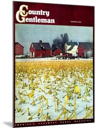 """""""Winter Cornfield,"""" Country Gentleman Cover, January 1, 1946-Thomas Benner-Mounted Giclee Print"""