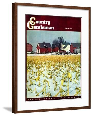 """""""Winter Cornfield,"""" Country Gentleman Cover, January 1, 1946-Thomas Benner-Framed Giclee Print"""
