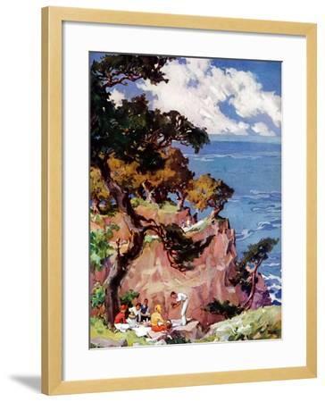 """""""Oceanside Picnic,""""February 1, 1939-G. Kay-Framed Giclee Print"""