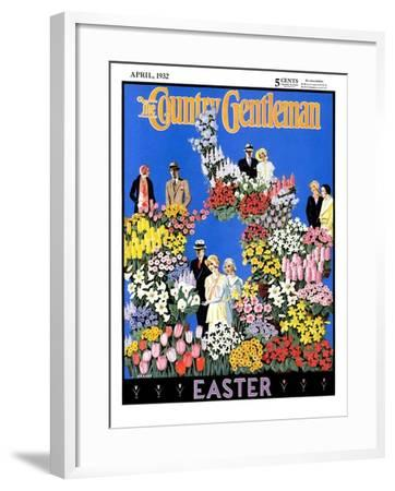 """Easter Flowers,"" Country Gentleman Cover, April 1, 1932- Kraske-Framed Giclee Print"