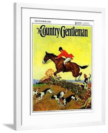 """Fox Hunter,"" Country Gentleman Cover, November 1, 1932-Robert Keareote-Framed Giclee Print"
