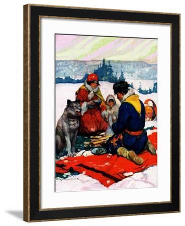 """Eskimo Family Meal,""March 1, 1928-Frank Schoonover-Framed Giclee Print"