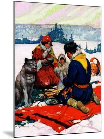 """""""Eskimo Family Meal,""""March 1, 1928-Frank Schoonover-Mounted Giclee Print"""